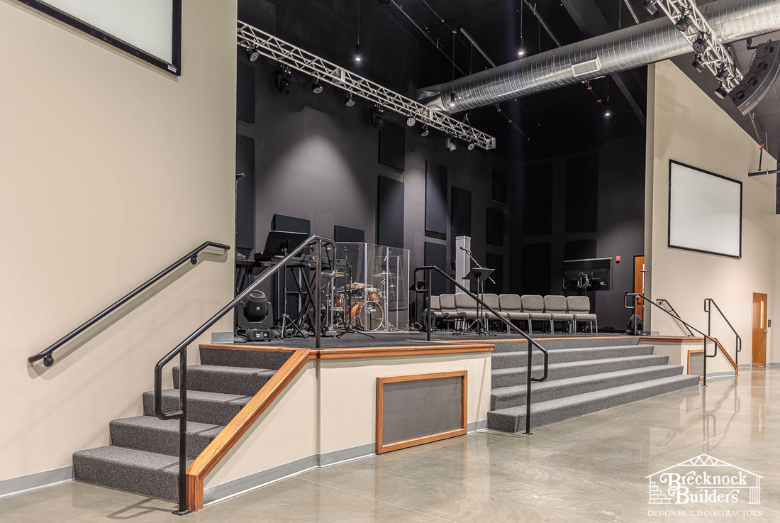 The raised stage at Connections Church