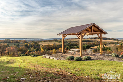 Timber-framed pavilion with amazing view