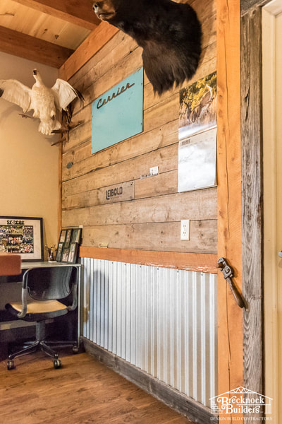 Office inside Bank Barn with reclaimed lumber built by Brecknock Builders