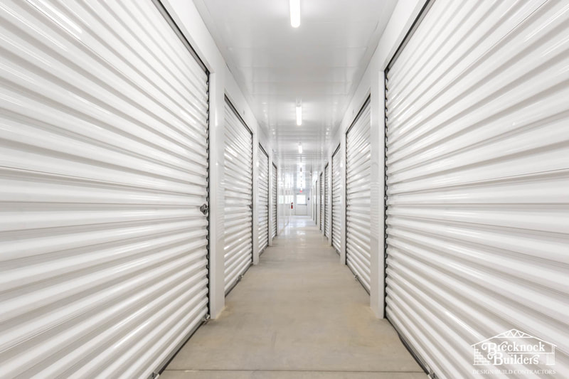 Inside Pre-engineered Steel Mini Storage Facility built by Brecknock Builders in Lancaster County, Pennsylvania.