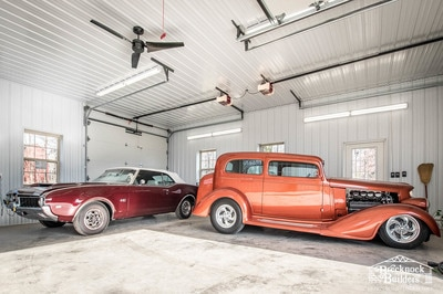 Classic Cars inside Custom Garage built by Brecknock Builders